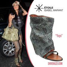 "Isabel Marant ""YOYO"" Python Print Canvas Open Toe Wedge Sandals Boots Shoes 36"