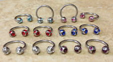 12pcs Multi-gem Circular Barbells Wholesale Body Jewelry 16 gauge 16g Horseshoes