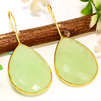 Solid 925 Sterling Silver Prehnite Chalcedony Gold Polished Earrings
