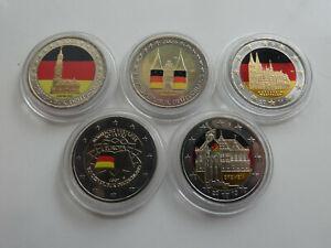 Deutschland 5 x 2 Euro 2006-2011 Farbgeld Lot 5 Münzen (1