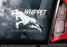 Whippet - Car Window Sticker - Dog on Board Sign -n.Italian Greyhound Snap- TYP2