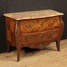 Comò intarsiato cassettone stile antico Luigi XV cassettiera legno piano marmo