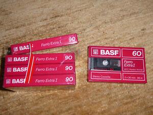 5x BASF AUDIOKASSETTEN - Ferro Extra I 60 + 90