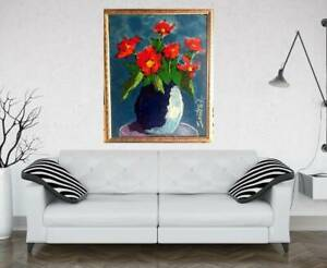 BIG FLOWERS 21X27 Painting by SWARTZMILLER - DNA SIGNED Pop Art Wall Framed COA