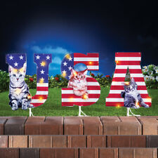 Lighted Patriotic Cats Usa 4th of July Garden Yard Stakes