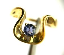 Natural Round Tanzanite 14K Yellow Gold Ring Modern