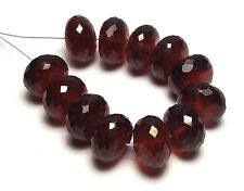 12 pcs GARNET Hessonite 10mm Faceted Rondelle Beads AAA NATURAL /F3