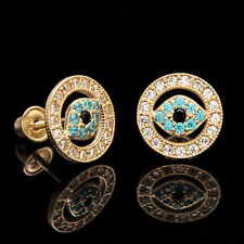 14K Yellow Gold Evil Eye Earrings 0.30CT Created Blue Black Diamond Screwback