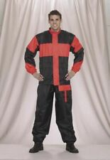 Men's Motorcycle Two Piece Black and Red Motorcycle Rain Suit with Draw Strings