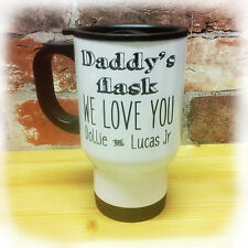 DADDY'S FLASK PERSONALISED TRAVEL MUG ANY TEXT FATHER'S DAY GIFT PRESENT CAR