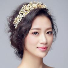 Luxury Bridal Wedding Crystal Pearl Gold Leaf Women Crown Hair Band Accessory
