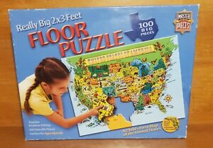 Master Pieces A CHILD'S FIRST MAP OF THE US 100 piece Floor Puzzle, 2' x 3' EUC