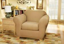 Stretch Suede Two Piece Chair Slipcover camel