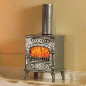 1/12 Scale Dolls House Emporium Wood Burning Burner Stove Fire Grey 5758
