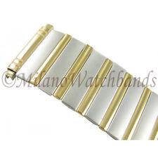 18-22mm Speidel Stainless Steel & Gold Two Tone Mens Twist-O-Flex Watch Band Reg