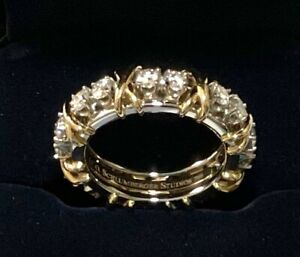 Tiffany & Co. Schlumberger 16 stone ring, 18K yellow gold and platinum, sz 6 3/4