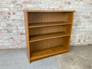 Light Brown Wooden Low Bookcase with Adjustable Shelves