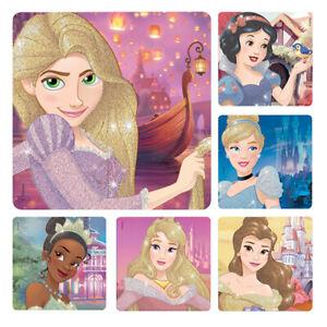 10 Disney Princess glitter Stickers Party Favors Cinderella Belle Tiana Aurora