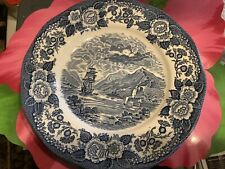 "Lochs of Scotland Loch Oich Royal Warwick Blue Transferware 10"" Dinner Plate Set"