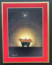 Caspari Christmas Cards Baby Jesus Manger Nativity SET OF 4 Gold Foil Religious