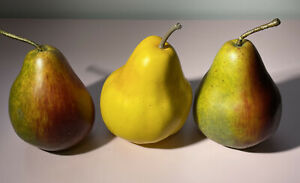 3 Faux Pears Artificial Fake Fruit Realistic