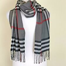 Cashmere Scarf Made In Scotland Gray Black Red Plaid Winter Unisex