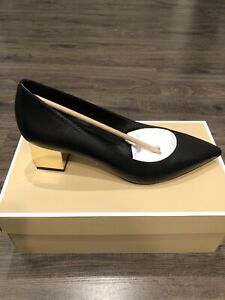 NIB $125 Michael Kors Petra Leather Metallic Block Heel Pumps Sz 8M