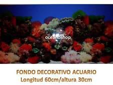 FONDO DECORATIVO de ACUARIO longitud 60cm altura 30cm marino coral 2 pecera D475
