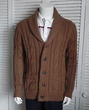 NEW Mens SIZE M ALPACA Camel Brown Cable Knit Shawl Collar Cardigan Sweater PERU