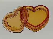 BRONZE Covered HEART BOX Boyd's Crystal Art Glass Degenhart Trinket Jewelry NOS