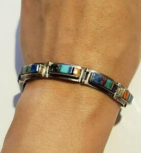Vintage Navajo CALVIN BEGAY Multi-stone Inlay Sterling Silver Link Bracelet