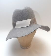 3ef6556f8ad 60s 70s Vintage Grey Pure Wool Felt Women s Wide Brim Hat Grosgrain Ribbon  Trim