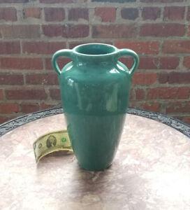 "Old 12"" ZANESVILLE STONEWARE CO. Pottery Vase-Applied Handles-Arts&Crafts"