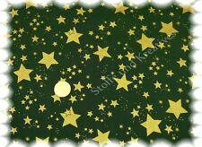 Sternenhimmel Weihnachtsstoff grün Baumwolle Sterne 50 cm gold  Weihnachten