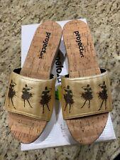 NWOB, PROJECTart Cork Platform Slide Sandals, Gold Upper with Dancers, Size 7