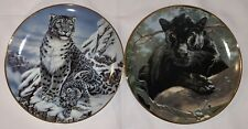 Franklin Mint Set Of 2 Collector's Plates Snow Leopard And Black Panther Cats
