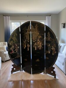 Vtg Chinese Room Divider Screen Hand Carved Wood 4 Panel Mother of Pearls Asian
