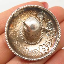 Vtg Mexico Signed 925 Sterling Silver Sombrero Hat Design Pin Brooch
