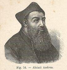 B1333 Andrea Alciati - Incisione antica del 1924 - Engraving