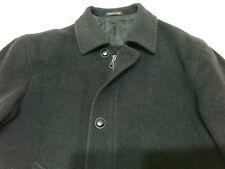 Giaccone uomo nero con cerniera e bottoni di pelle lana cachemire tg 48