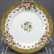 Set of 5 Nippon Hand Painted Pink Floral & Gold Gilt Bread Plates C. 1911 - 21