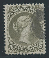 Canada #26iv(3) 1875 5 cent olive green QUEEN VICTORIA CERTIFIED Used CV$270.00