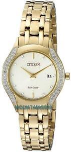 CITIZEN Eco-Drive Watch, 30 Diamonds, GoldTone, WR, Date, Ladies, GA1062-51P