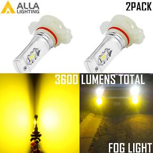 Alla Lighting PSX24W 2504 LED Driving Fog Light|DRL Bulb 3000K Golden Yellow VS
