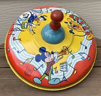 VTG J Chein Tin Litho Large SPINNING TOP Walt Disney Mickey Mouse & Friends F/S