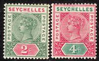 Seychelles 1890 green/carmine 2c carmine/green 4c Die I crown CA mint SG1/2