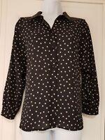 Womens Zara Semi Sheer Long Sleeve Navy Blue Gold Spot Blouse Top XS.