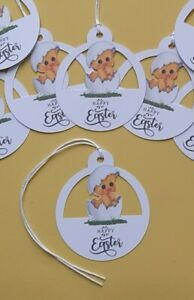 10 Easter Chick Egg Gift Tags, Labels, Party Bags, Crafts, Card Making Toppers