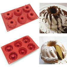 6Cavity Silicone Bundt Cake Baking Mold Muffin Candy Chocolate Soap Bakeware Pan