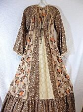 Vintage Peasant Prairie Maxi Dress Women's XS Lace up Long Smocked Bell Sleeve